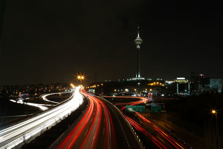 Light Trails On Road In City At Night