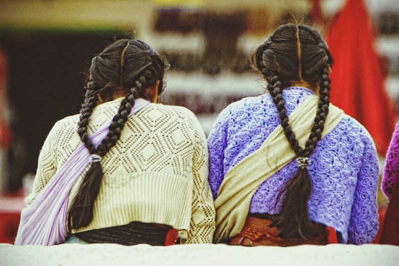 Rear View Of Girls With Braided Hair