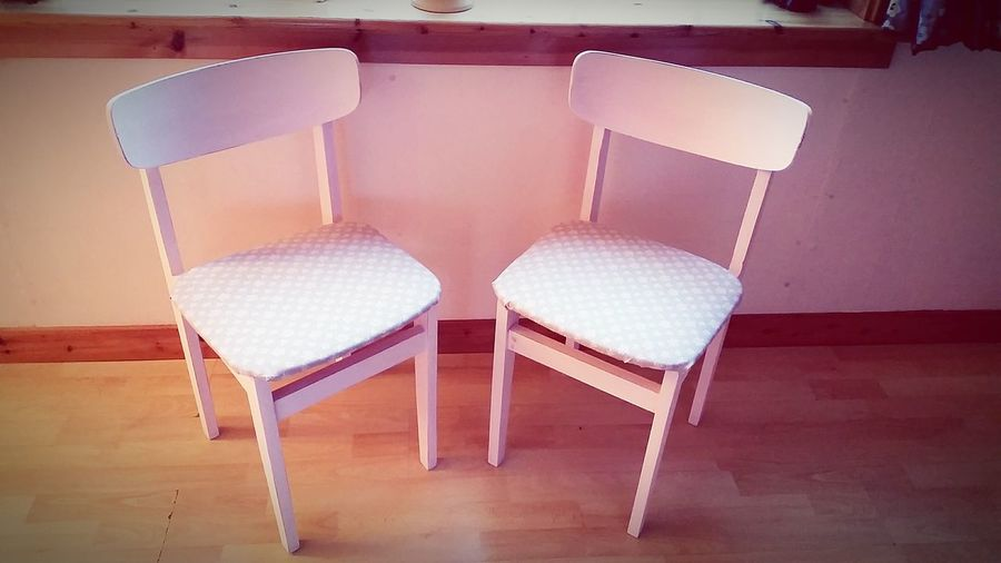 2 china rose coloured kitchen chairs with taupe and pink ditsy print material, finished in shabby chic stlye. £25 each.
