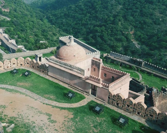 High angle view of historical building