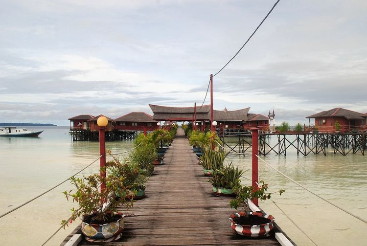 Maratua Island Architecture Building Exterior Built Structure Cloud - Sky Day Derawan In A Row Nature No People Outdoors Sky Stilt House The Way Forward Water