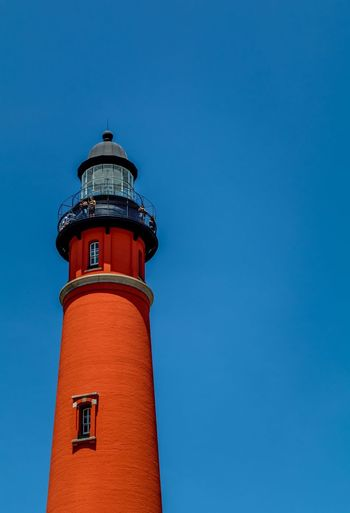 Lighthouse Blue Sky Orange Architecture Building Guidance Summer Sky Florida Outside Hidden Gems  Ponce Inlet