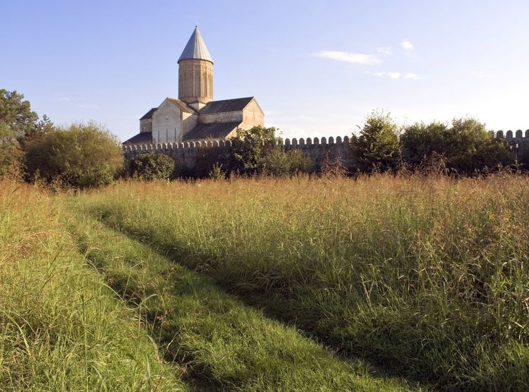 Georgia, Tbilisi, Kvareli, the Black sea, the Cathedral of Alaverdi, Alaverdi monk from the beach in Kvareli Agriculture Crop  Day Farm Field Grass Green Color Growing Growth History Nature No People Outdoors Plant Religion Rural Scene Spirituality Tranquility