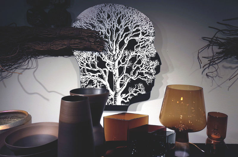 autumn display Creative Light And Shadow Creativity Decoration Decorations Design Electric Light Everyday Objects Illuminated Indoors  Interior Design Interior Views Lighting Equipment Shapes , Lines , Forms & Composition Shapes And Forms Table Vase