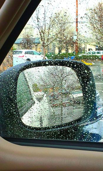 Rainy Days Inside Car View Cloudy Skies Rear View Mirror Parking Lot Showcase March