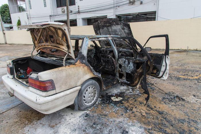 Accident Ammunition Burn Burned Car Car Car Burn Car Burning Damaged Fire Hot Transportation Transportation