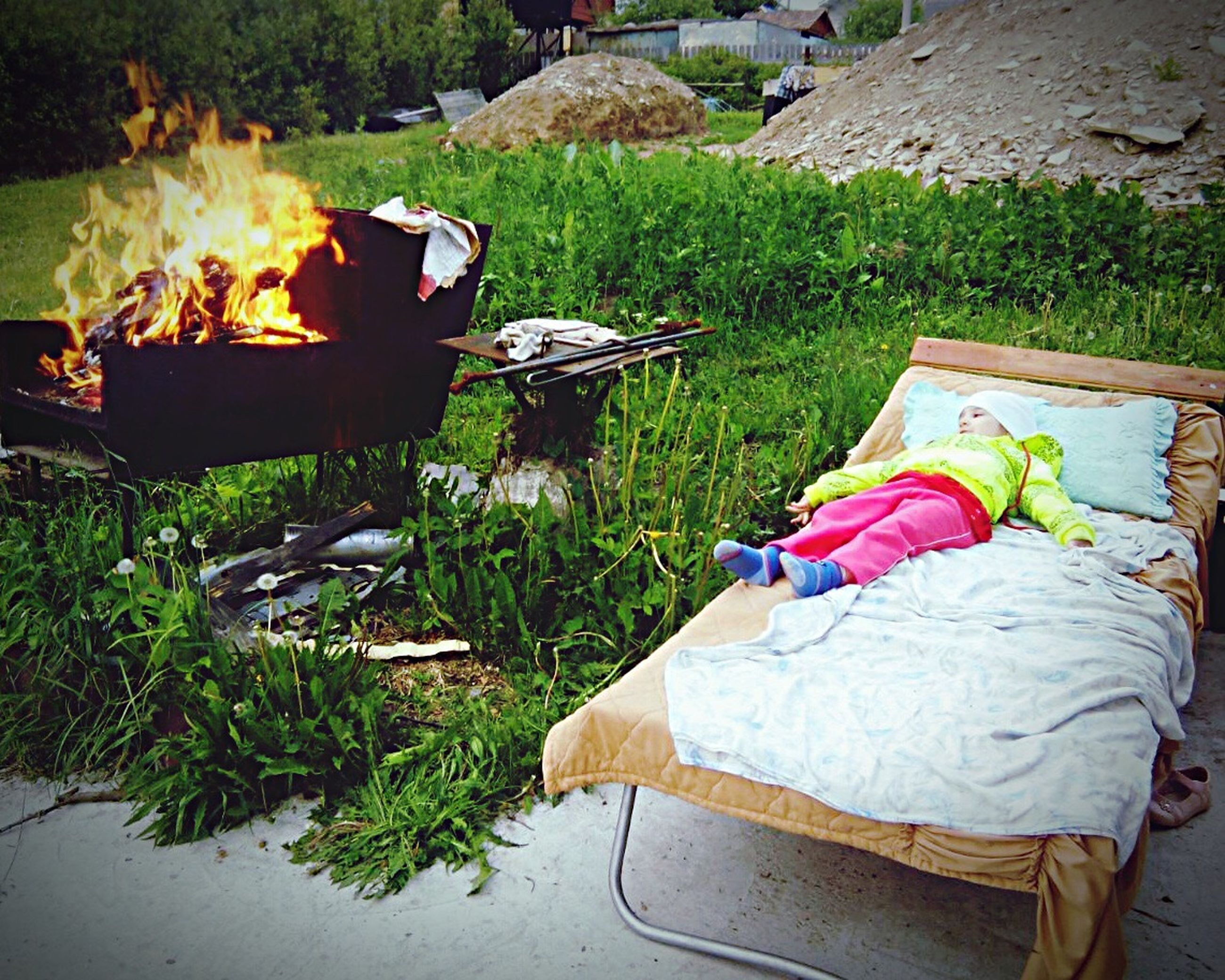 burning, bench, relaxation, heat - temperature, flame, fire - natural phenomenon, bonfire, firewood, domestic life, day, outdoors