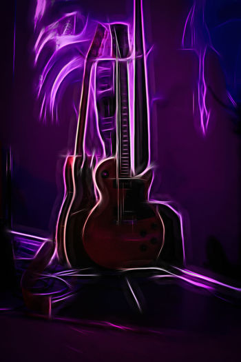 Jazz Night at the Avalanche Bar and Grill Acoustic Guitar Arts Culture And Entertainment Black Background Close-up Electric Guitar Guitar Illuminated Indoors  Light - Natural Phenomenon Motion Music Musical Equipment Musical Instrument Musical Instrument String Neon No People Pink Color Purple Rock Music Stage String String Instrument Studio Shot