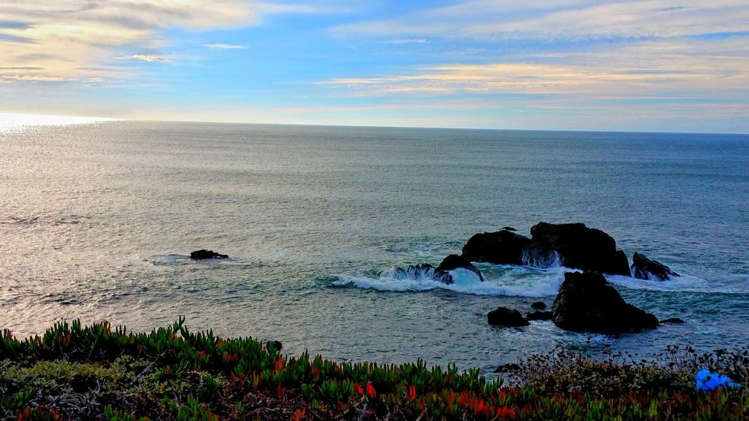 Sea Nature Beauty In Nature Outdoors No People Beach Scenics Water Cloud - Sky Day Sky Overlook Sheen Reflection Ocean Copy Space Sunlight Backgrounds Tranquil Scene Hwy 1 Bodega Bay Vacations Red Horizon Over Water Be. Ready.