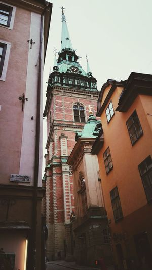 Building Exterior Architecture City Low Angle View Sky Clock Clock Tower Day Tourism Stockholm Sweden Gamla Stan