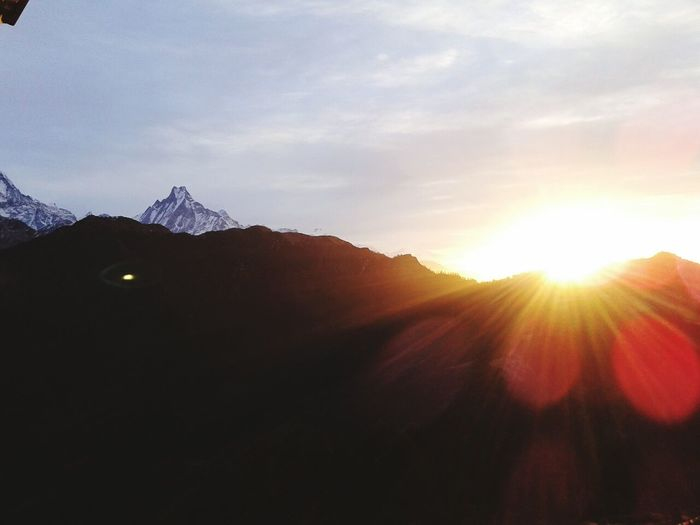 Sunrise Poonhill Nepal Nature Macchapuchhre Beauty Hills Tourism Mountain