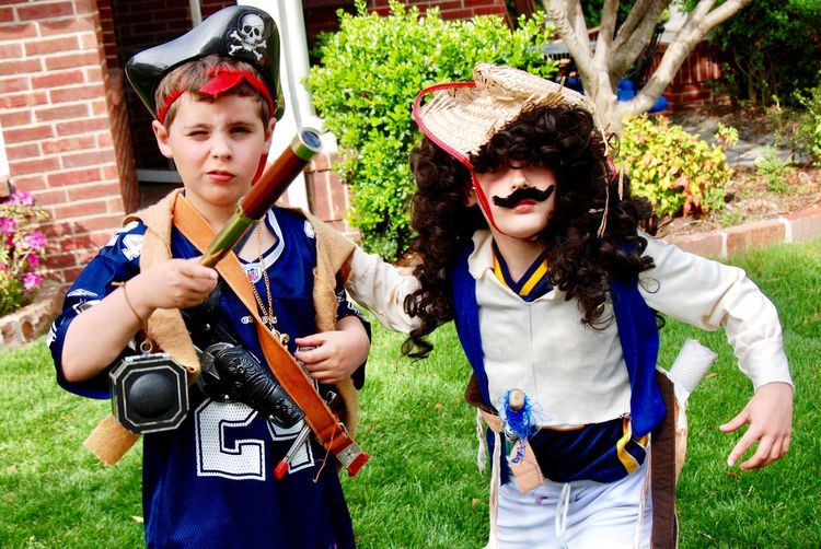 Pirate Pretending Make Believe Makebelieve Children Children Photography Childhood Kids Playing Kids Being Kids Kidsphotography Kids Playing Front View Two People Boys Males  Day Childhood Costume Leisure Activity Child Real People Outdoors Looking At Camera Standing EyeEmNewHere