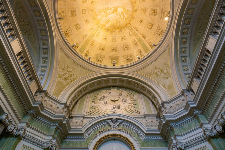 Low angle view of ceiling of historic building