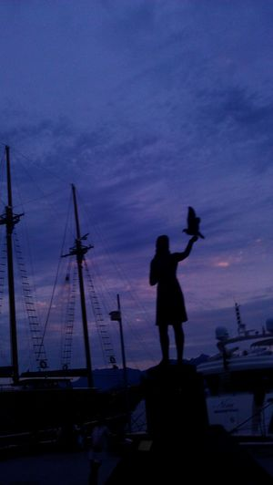 Beauty Harbour Docks Masts Boats Ships Masts Blue Sky Pink Sky Purple Sky Girl Bird Statue Solumn Military Nautical Vessel Full Length Standing Sunset Silhouette Artist City Sky