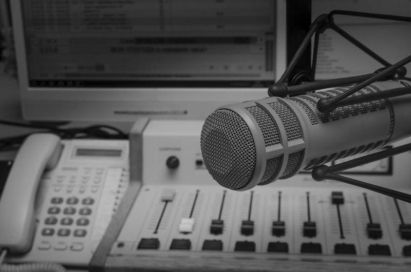 Close-up of microphone in studio