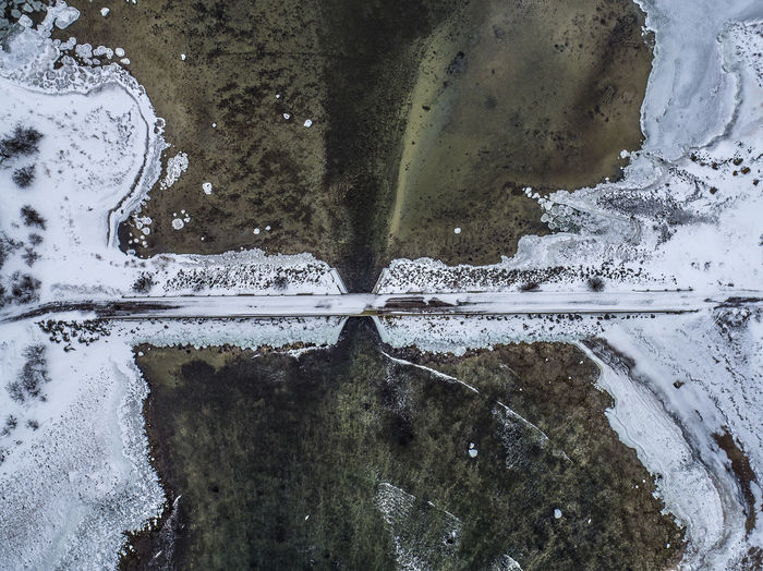 High Angle View Of Snow On Field