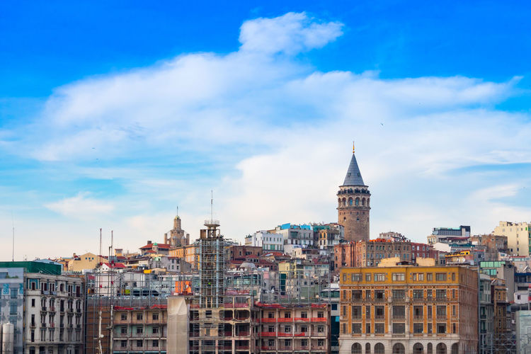 Galata tower and cloudy sky