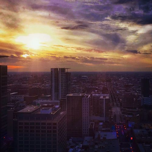 City Sunset Chicago City Cityscape Architecture Sky Building Exterior Cloud - Sky Skyscraper High Angle View Built Structure Crowded Modern City Life Travel Destinations Outdoors Urban Skyline View From My Window Amateurphotography IPhone7S