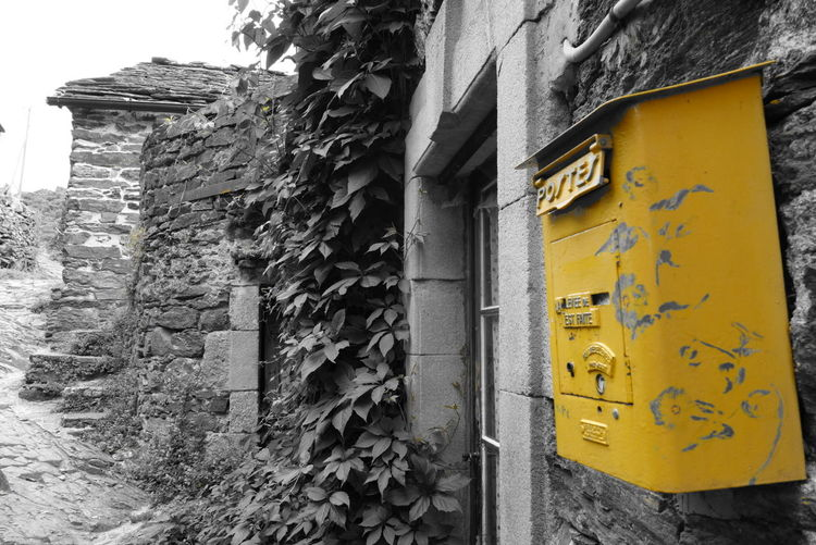 Architecture Built Structure France Houses Letterbox Stone Thines Vintage Yellow