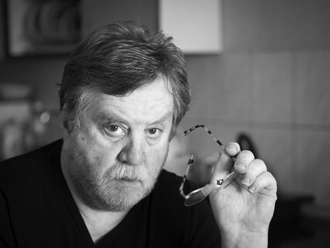 Black and white portrait of pensive mature man Man Must Pensive Adult Adults Only Black And White Breaded Caucasian Close-up Day Holding Human Body Part Human Hand Indoors  Men One Man Only One Person People Portrait Real People Senior Adult Senior Men