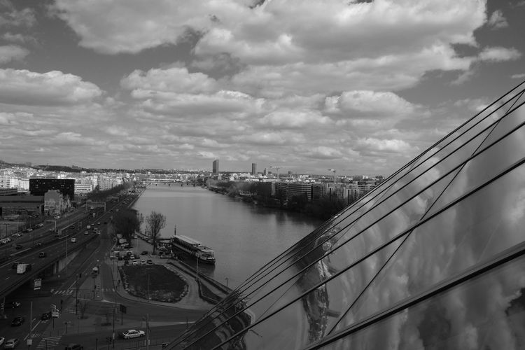 Architecture Panorama Foto Architectural Detail Architecture Architecture Black And White Photography Authentic Moments Black And White Blackandwhite Photography Bridge Bridge - Man Made Structure Building Exterior Built Structure City Cityscape Cloud - Sky Clouds And Sky Connection High Angle View La Confluence Nature No People Outdoors River Sky Water