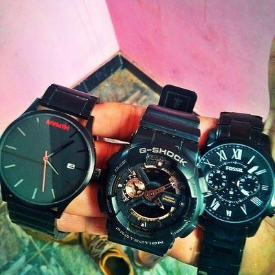 My black beauties ... Watchesofinstagram Watchporn Watchgeek Fossil Gshockwatch Gshock Casiowatches Mvmtwatches Mvmt Instawatch Blackwatches Watchfinder