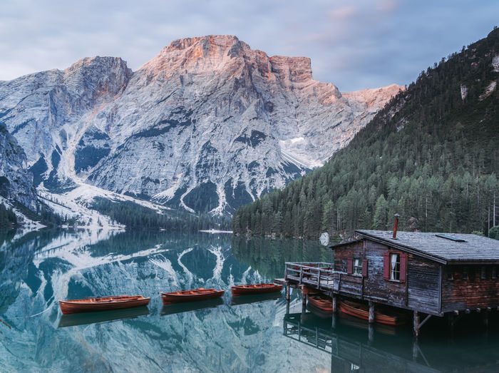 Scenic view of lago di braies or pragner wildsee
