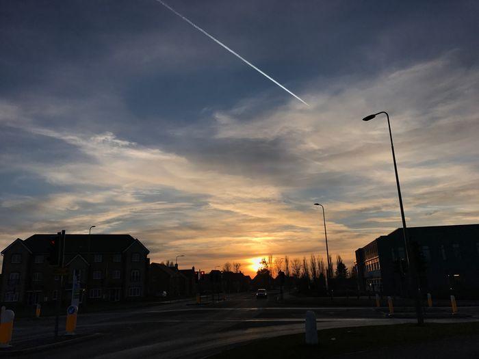 MobileSky Sun Sunset Sky Clouds Clouds And Sky Contrail