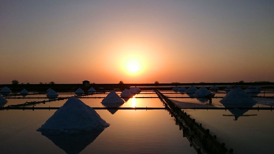 View of salt basin against clear sky during sunset