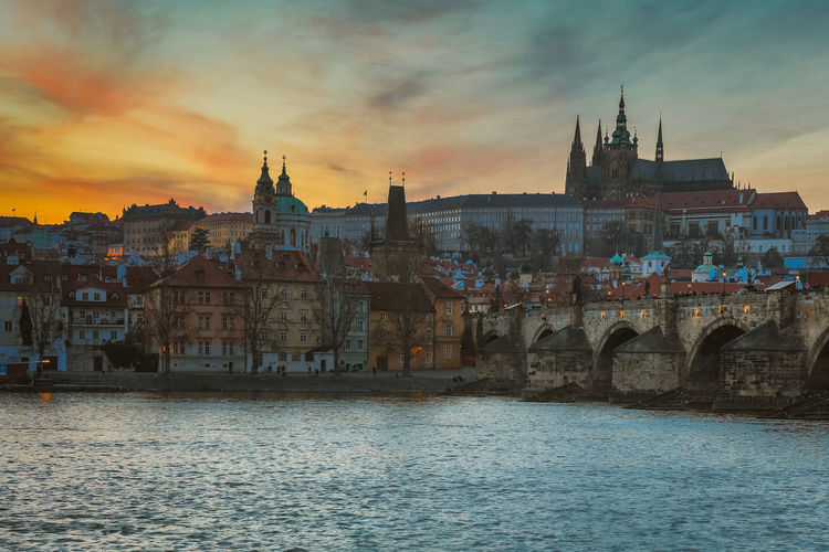 Architecture Bridge - Man Made Structure Building Exterior Built Structure City Cityscape Cloud - Sky Day Nautical Vessel No People Outdoors Place Of Worship Prague Religion River Sky Spirituality Sunset Travel Destinations Water Waterfront