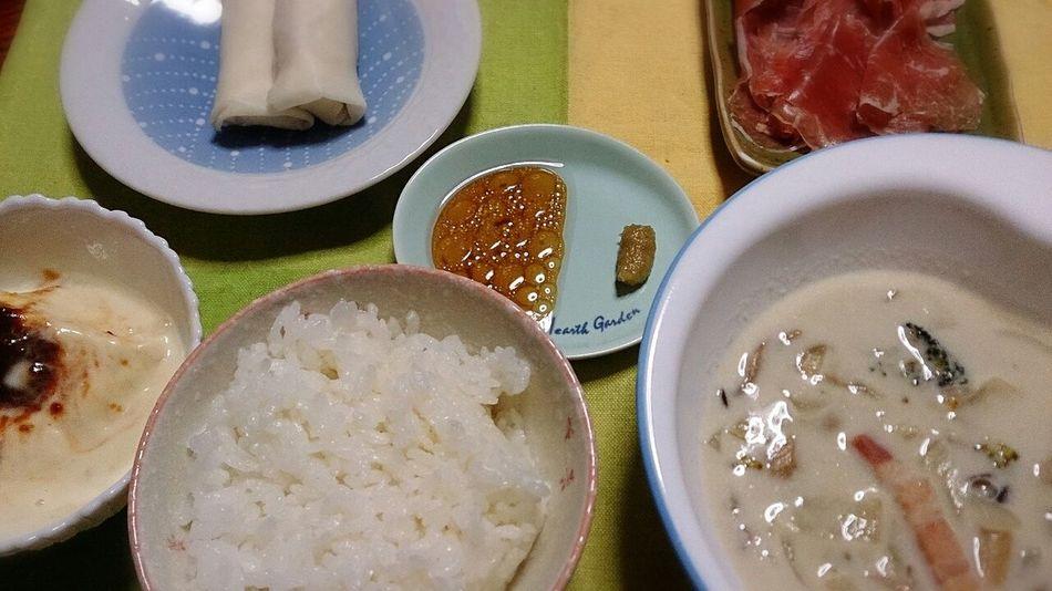 お疲れ様でした☆白い(笑)♪ Dinner Clamchowder Tofu Japanese Food Healthy Food Yummy Food Porn