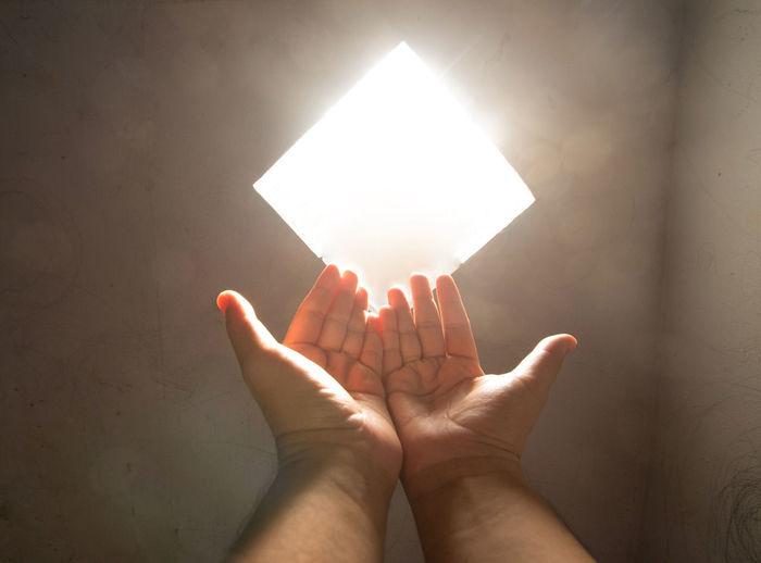 Close-up of hand holding illuminated light