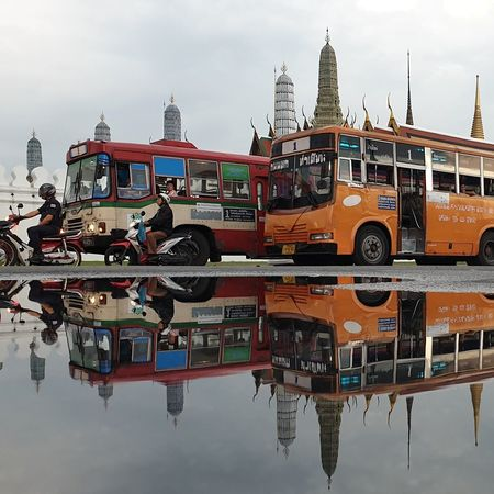 Temple of the Emerald Buddha, Thailand Temple Bus Thailand Bangkok Architecture Built Structure Water Mode Of Transportation Sky Transportation Waterfront Reflection Outdoors