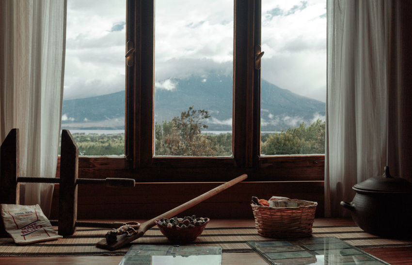 Chile Holiday Nature Osorno Travel Cloud - Sky Curtain Day Home Interior Indoors  Mountain Nature No People Potted Plant Scenics Sky Table Tree Window Window Frame Window Sill Window View