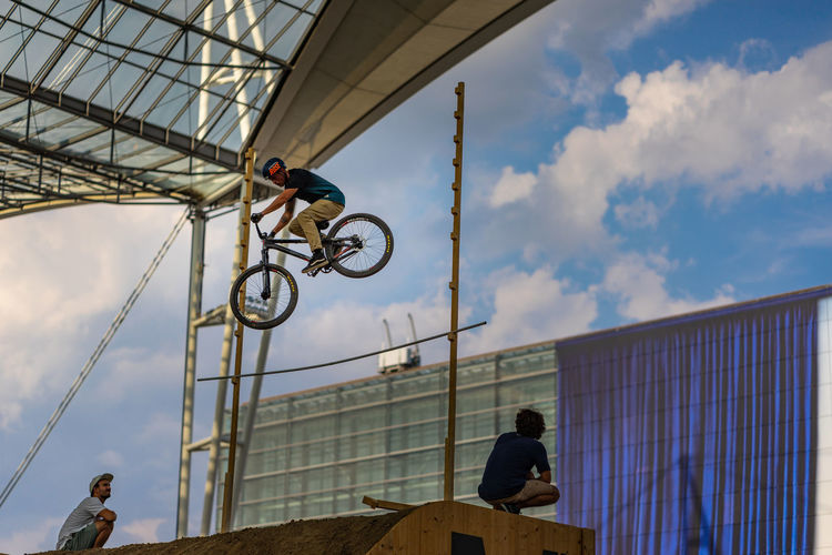 Bike and Style, Airport Munich jump competition Bike And Style, High Jump Competition Jump Velo Action Sports Airport Munich Bicycle Rack Competition Extreme Sports High Angle View Jump Ramp Loop Sky Style Xgames  EyeEmNewHere