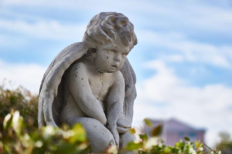 Statue of a patient little angel, waiting Stone Angel Statue Garden Angel Cherub Statue Angel Statue Cherub Putto Blue Sky Statue Patient Angel Watching Sculpture Sculpted