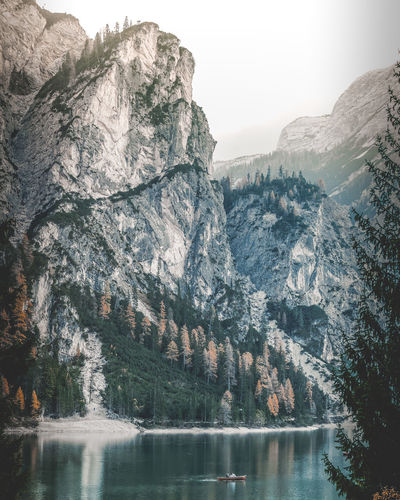 Lago Di Braies Mountain Beauty In Nature Water Scenics - Nature Lake Tranquil Scene Tranquility Nature Day Rock Tree Plant Sky Waterfront Reflection No People Non-urban Scene Mountain Range Outdoors Formation Mountain Peak Lago Di Braies