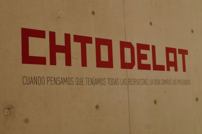 Chto Delat Text Western Script Communication Red Danger No People Indoors