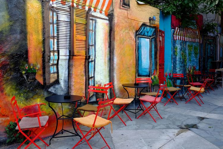 Bar Chair City City Street Colorful Day Europe Gazi Athens Graffiti Mural Mural Art Mural Art Athens Neighborhood No People Outdoors Table Travel Destinations Wall Graffity