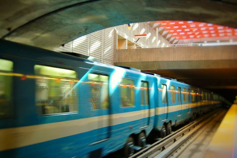 Transportation Blurred Motion Subway Train Subway Station Mode Of Transport Illuminated Subway Platform Public Transportation Subway Train - Vehicle Motion City Built Structure Speed Architecture Indoors  Commuter People Day