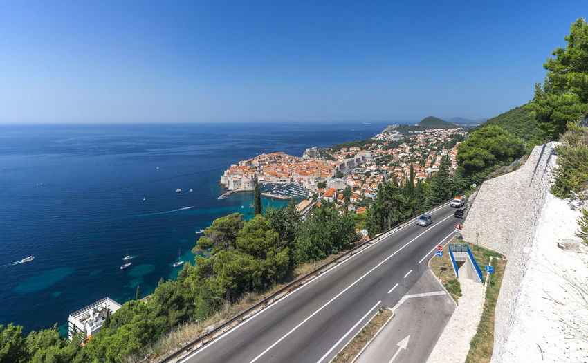 Panoramic view of the Old Town and Old Port of Dubrovnik, Croatia, in a sunny summer day Water Sea Sky Nature Day Dubrovnik Croatia Panorama Old Town