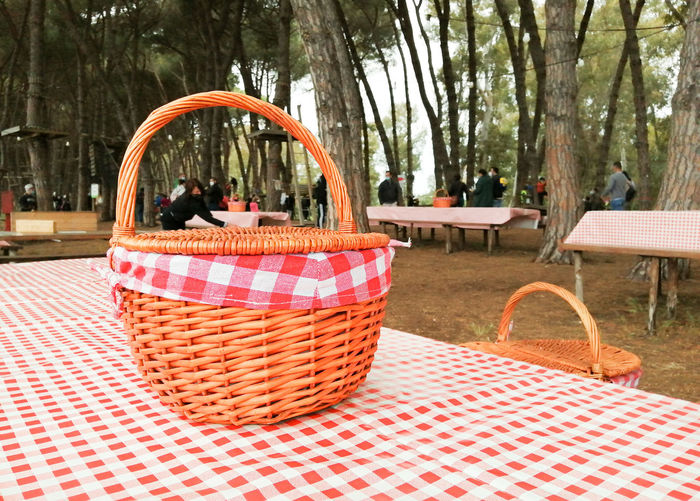 Chairs and tables in basket on table at park
