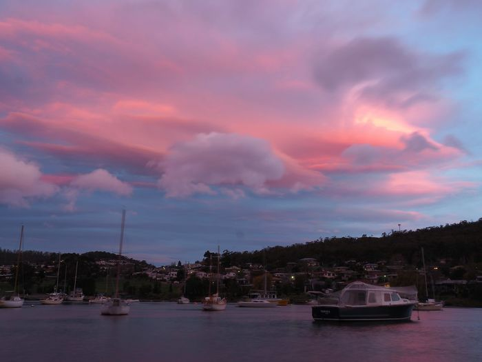 So tonights sunset was unreal Geilston Bay Hobart Tasmania AustraliaSunset Pastel Sky Bay Sailboats Olympus OM-D E-M5 Mk.II Edited With Snapseed Beauty In Nature Eyem Sunset_collection Love This City