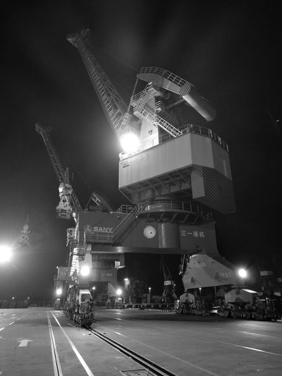 Zhuhai Port Cranes Night Perspectvstudio Filming Industry TV Show Set Outdoors Professional Actor Welcome To Black