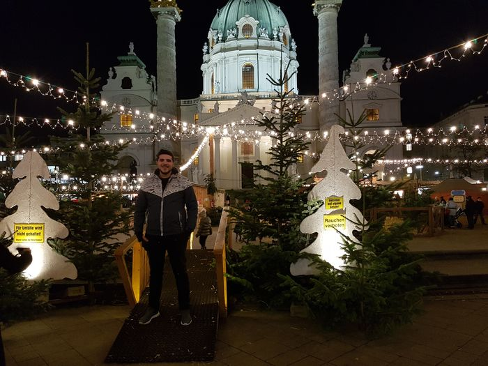 Night Architecture Spirituality Building Exterior One Person Outdoors Illuminated Standing Vacations City Christmas Lights Christmas Decoration Vienna Austria Landscape Winter Travelaroundtheworld Travelaround Lifestyles Vienna Austria 🇦🇹 City One Man Only Night Photography