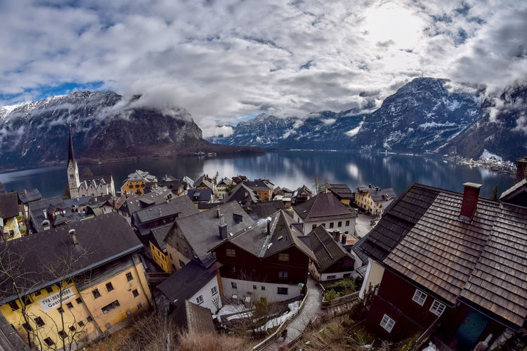 Views Hallstatt in Upper Austria Cloud - Sky Sky Water Mountain Architecture Built Structure Building Exterior Scenics - Nature Building Cold Temperature Beauty In Nature Snow Winter No People Day Nature Lake House Mountain Range Snowcapped Mountain Outdoors Mountain Peak TOWNSCAPE Hallstatt Upper Austria
