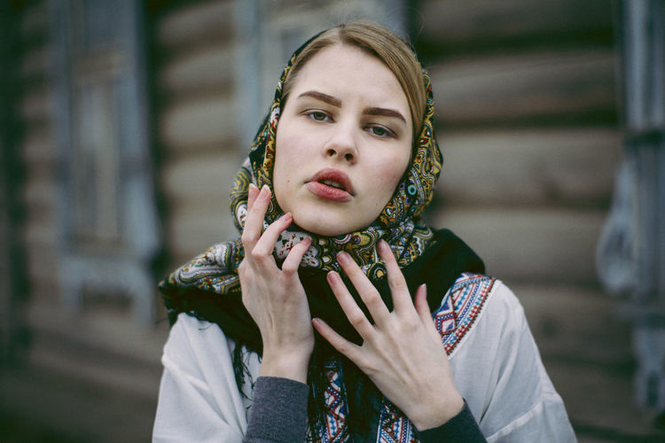 People Real People Women Portrait Day Outdoors Beautiful Woman Headshot Adult Close-up Front View Lifestyles Looking At Camera Young Adult One Person Young Women Focus On Foreground Fresh On Market 2017 Traditional Russian
