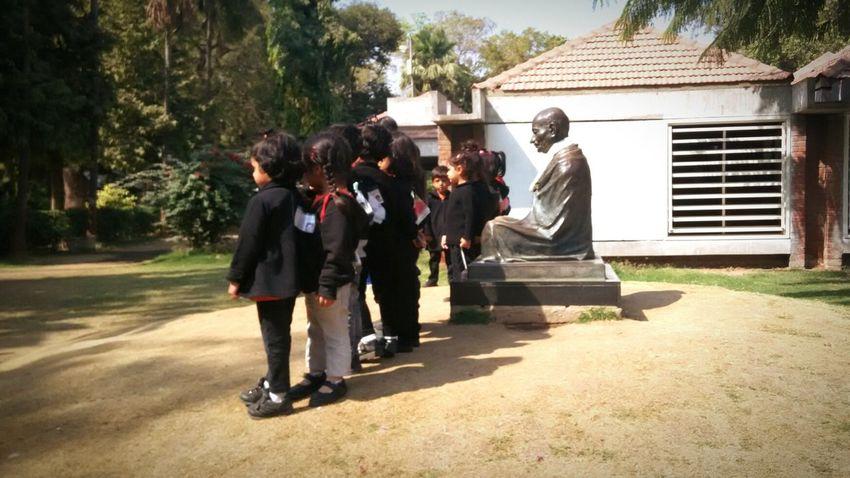 Children and Mahatma Gandhi. Freedom fighter with future builders. Gandhi Mahatma Gandhi Kids Children Independence Children Photography Freedom Fighter Statue Sabarmati Ashram