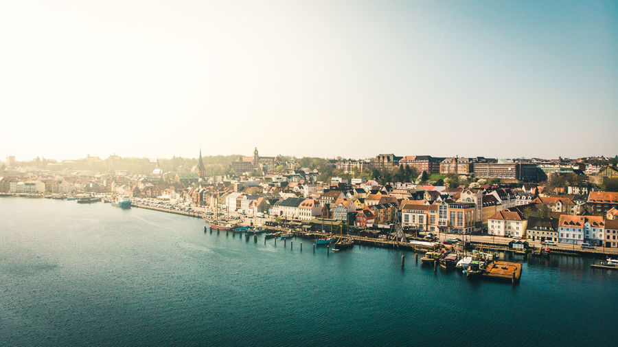 The beautiful town of Flensburg from above Building Exterior Architecture Built Structure City Sky Water Residential District Clear Sky Building Waterfront Nature Nautical Vessel Transportation Copy Space Cityscape High Angle View No People River Day Outdoors TOWNSCAPE Flensburg Harbor