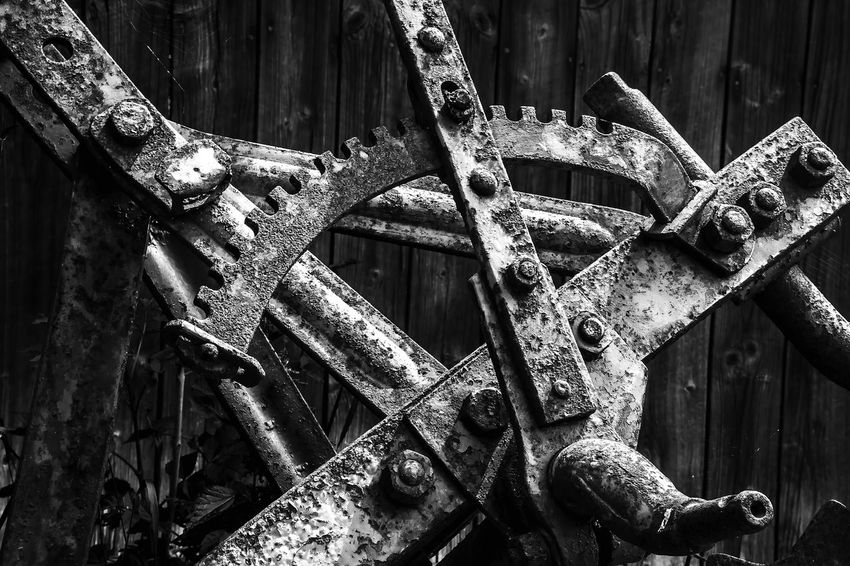 Black & White Abandoned Agricultural Machinery Black And White Close-up Damaged Day Deterioration Metal No People Obsolete Old Outdoors Run-down Rusty Transportation Weathered Wheel Wood - Material Wrought Iron The Still Life Photographer - 2018 EyeEm Awards